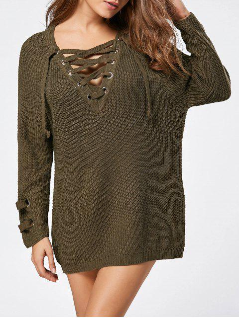 new Lace Up Raglan Sleeve Ribbed Trim Sweater - LAWN ONE SIZE Mobile