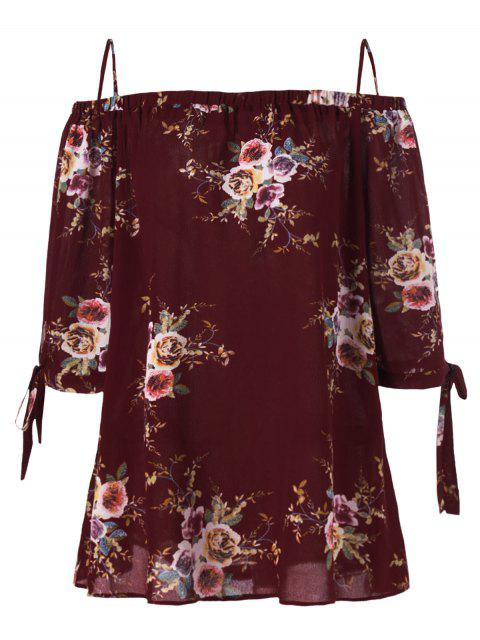 chic Plus Size Floral Cold Shoulder Blouse - WINE RED 5XL Mobile