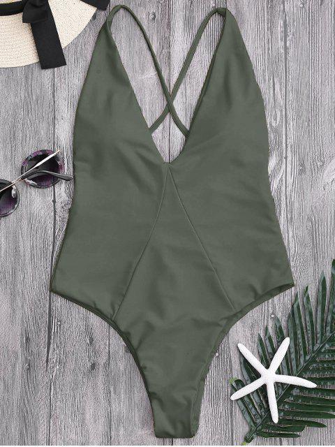 online High Cut Cross Back Swimwear - ARMY GREEN S Mobile