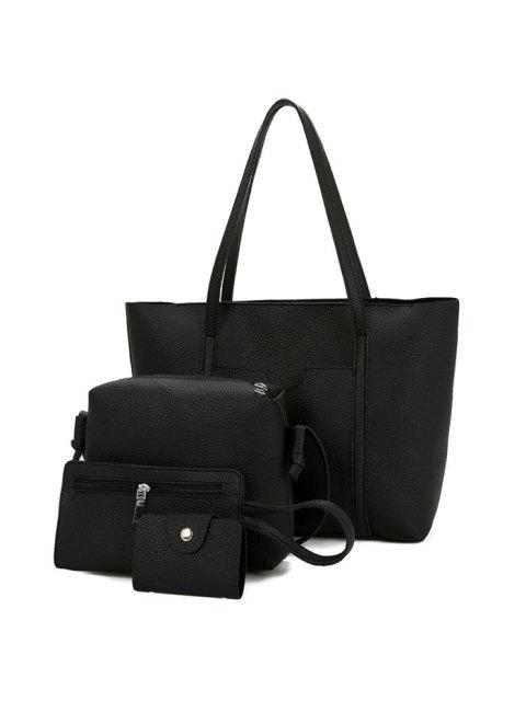 womens Textured Leather 4 Pieces Shoulder Bag Set - BLACK  Mobile