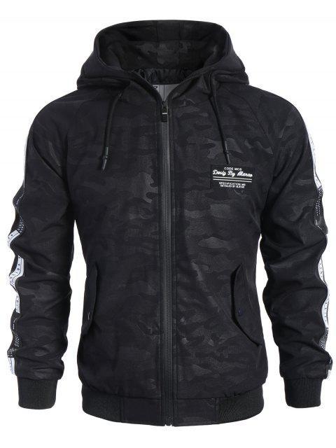shop Side Letter Print Camo Hooded Jacket - BLACK XL Mobile
