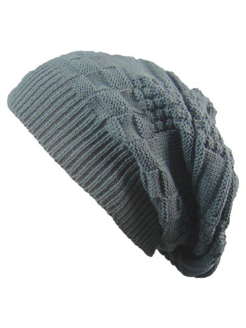 affordable Striped Checked Draped Knitted Hat - DEEP GRAY  Mobile