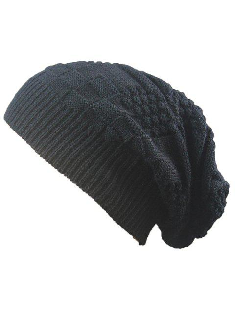 hot Striped Checked Draped Knitted Hat - BLACK  Mobile
