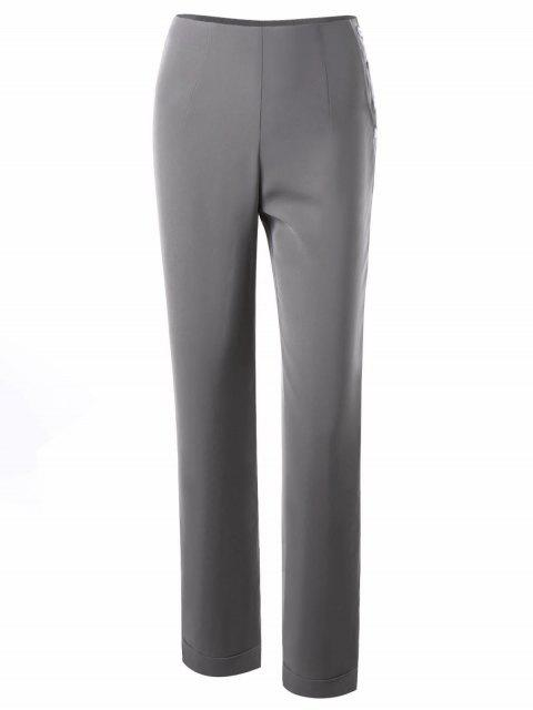 Knopf Side Dress Hosen - Licht Grau 2XL Mobile