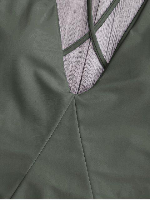 Traje de baño de una pieza de corte alto en la espalda - Ejercito Verde M Mobile