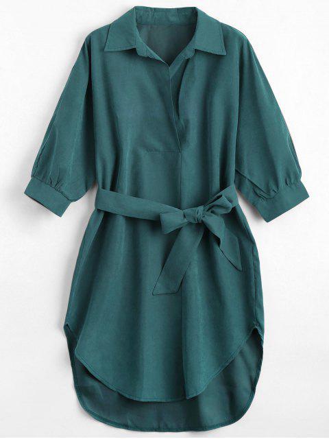 women Three Quarter Sleeve Belted Shift Dress - BLACKISH GREEN XL Mobile