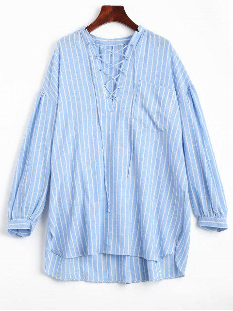 High Low Stripes Lace Up Robe décontractée - Rayure M Mobile
