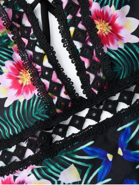 Traje de baño de una pieza floral de encaje - Colores Mezclados L Mobile