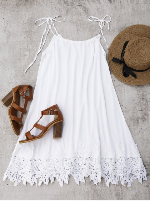 ladies Lace Trim Trapeze Sundress - WHITE S Mobile