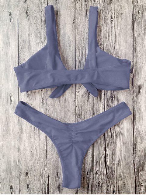 fashion Scrunch Butt Knotted Thong Bikini - GRAY S Mobile