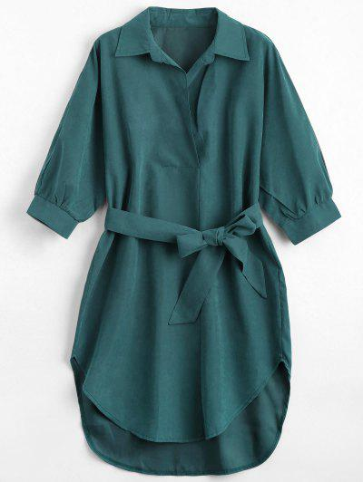 Three Quarter Sleeve Belted Shift Dress - Blackish Green M
