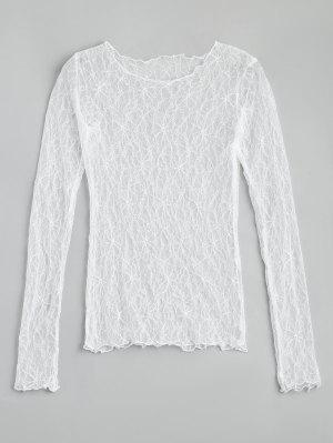 Floral See Thru Lace Blouse - White