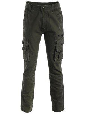 Pantalones De Los Bolsillos De La Aleta - Verde Del Ejército 2xl
