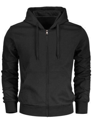 Drawstring Kangaroo Pockets Zip Up Hoodie - Black L