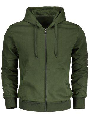 Drawstring Kangaroo Pockets Zip Up Hoodie