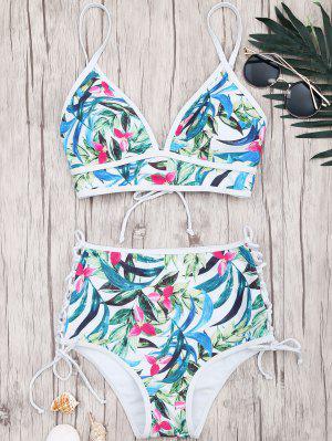 Hoja Ata El Bikini Alto De Waisted - Floral M