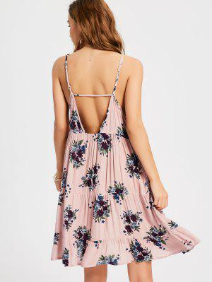 Ruffles Cut Out Swing Slip Dress - Nude Pink L