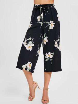 Pantalones de pantalón ancho con cinturón floral