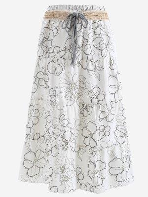 Cinturón Impreso Una Falda Maxi De Línea - Blanco