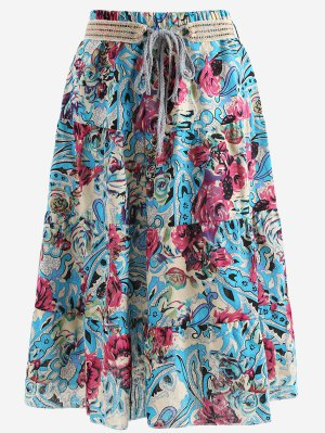 Belted Printed A Line Maxi Skirt - Blue