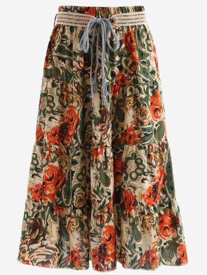 Belted Printed A Line Maxi Skirt - Light Khaki