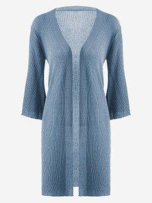 Open Front Knitted Ribbed Cardigan - Blue