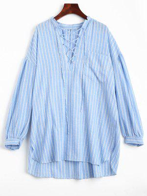 High Low Stripes Lace Up Casual Dress - Stripe S