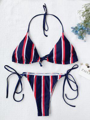 Halter Striped String Bikini Set - Blue S