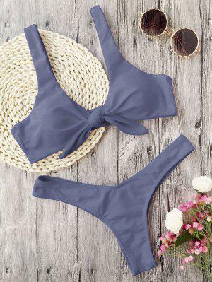 Bikini Con Tanga Nudosa Acolchada - Gris L