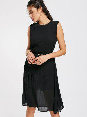 Pleated Panel Belted Chiffon Dress - Black L