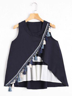 Tassels Embellished Pleated Tank Top - Purplish Blue