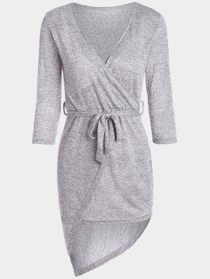 Plunging Neck Belted Asymmetric Dress - Heather Gray M