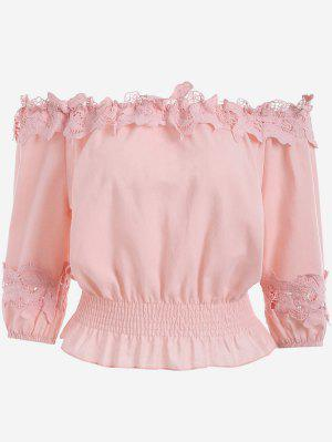 Lace Panel Off The Shoulder Blouse - Rosa