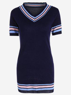 V Cuello Rayado Vestido De Punto - Azul Purpúreo