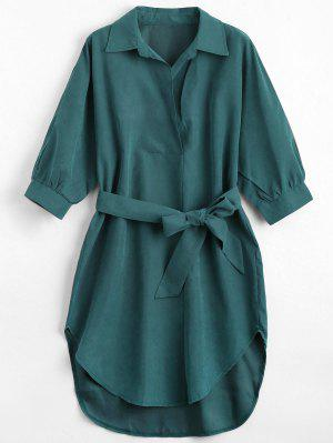 Three Quarter Sleeve Belted Shift Dress - Blackish Green M