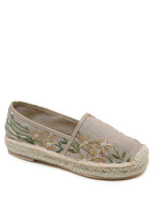 Embroidery Stitching Canvas Flat Shoes - Apricot 38
