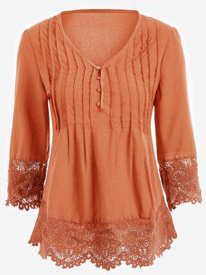 V Neck Lace Panel Blouse - Orange L