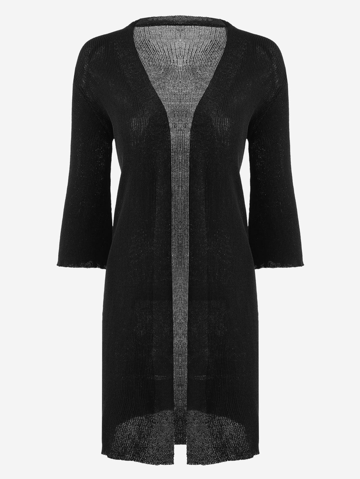 Open Front Knitted Ribbed Cardigan 221776401