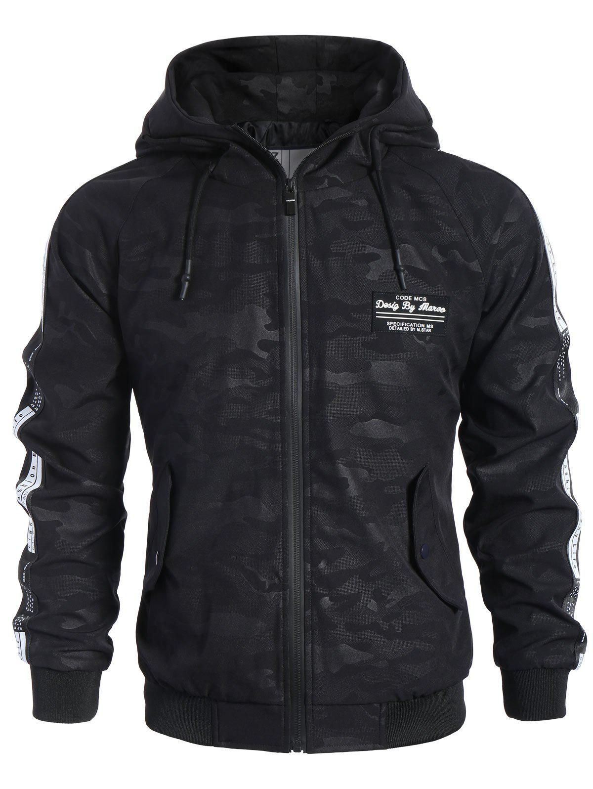 Side Letter Print Camo Hooded Jacket 221805301