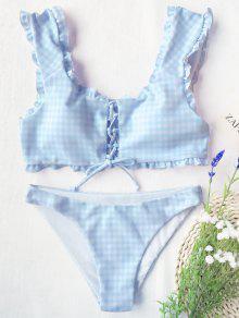 Juego De Bikini Brillante Con Encaje De Guinga - Azul Y Blanco S