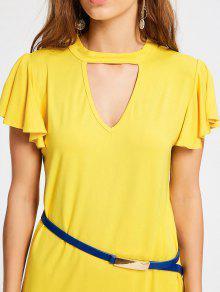 Amarillo Con Volantes L De Mango Vestido qzIwxvRaq