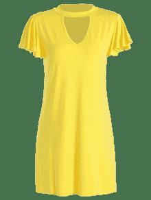 L Volantes Mango Amarillo Vestido De Con X46qxw0