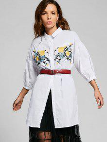 Long Button Down Floral Embroidered Shirt - White S