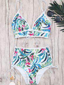 Bikini Taille Haute à Lacets à Imprimé Feuille - Floral S