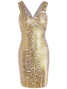 فستان الضمادة بلا اكمام الرقبة على شكل القلب - ذهبي M