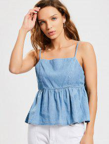 Bow Tied Cut Out Tank Top - Denim Blue L
