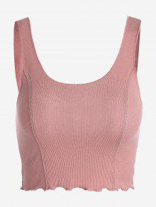 Cropped Ruffled Ribbed Tank Top - Pink