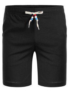 Drawstring Beaded Bermuda Shorts - Black 2xl