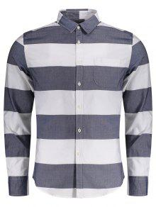 Single Breasted Pocket Striped Shirt - Blue And White 3xl