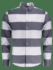De Y Pecho 250;nico Bolsillo De Blanco Xl Azul Camisa Rayas De Fp8qE